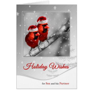 for Son and Partner on Christmas Red Cardinal Card