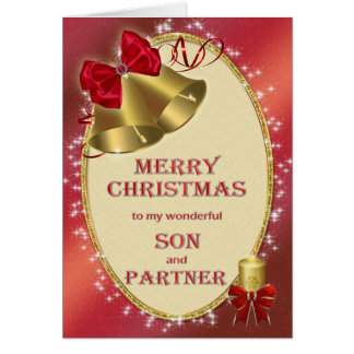For son and partner, traditional Christmas card