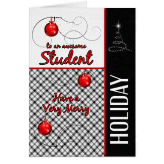 for Student Holiday Red and Black Plaid Card