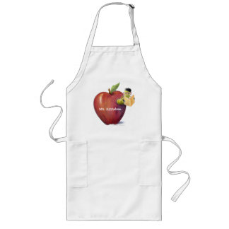 For Teacher Worm in Apple Customizable Name Long Apron