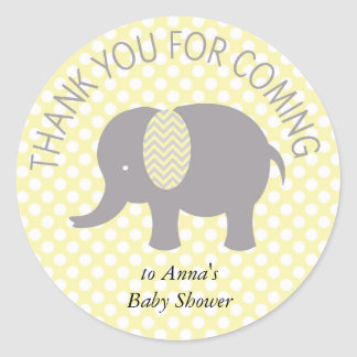 For Thank you coming ELephant Baby Shower Classic Round Sticker