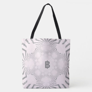 For The Bride B Monogram Logo White Zebra Pattern Tote Bag