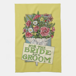 For the Bride & Groom Yellow Vintage-Style Flowers Tea Towel