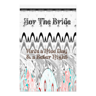 For the Bride White and Black Edgy design Stationery