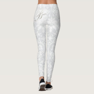For the Bride - White Damask Leggings