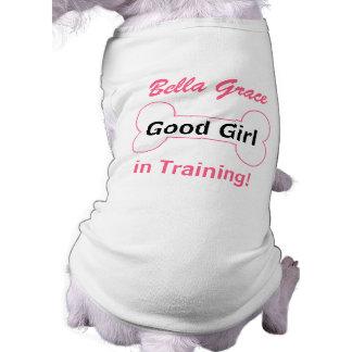 for the Dog - Good Girl in Training Bone with Name Sleeveless Dog Shirt
