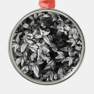 For the Love - Black & White Floral Silver-Colored Round Decoration