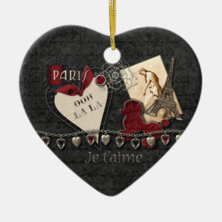 For The Love Of Paris Ceramic Heart Decoration