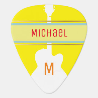 for the stylish guitarist a monogram yellow guitar pick