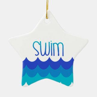 For the Swimmer Ceramic Ornament