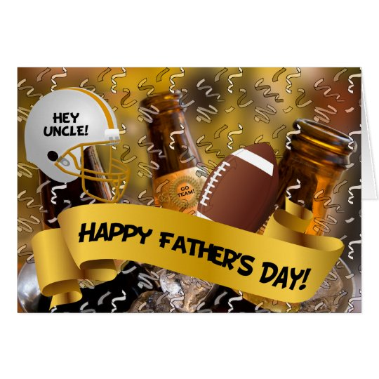 for Uncle | Father's Day | Football and Beer Card