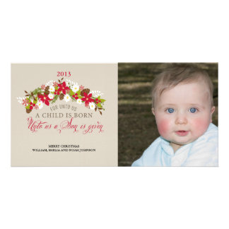 For Unto Us a Child is Born Christmas Photo Greeting Card