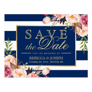 (for USPS) Floral Navy Blue Stripes Save the Date Postcard