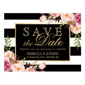 (for USPS) Gold Floral Black Stripes Save the Date Postcard