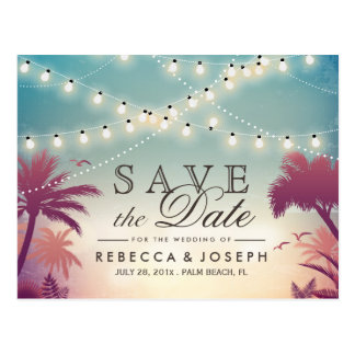 (for USPS) Palm Beach String Lights Save the Date Postcard