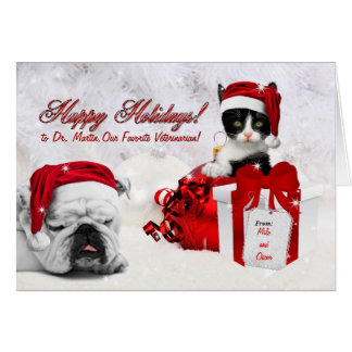 for Veterinarian at Christmas Cat and Dog Card