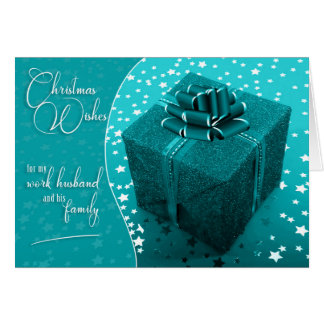 for Work Husband Turquoise Blue Christmas Card