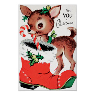 For You at Christmas Reindeer Poster
