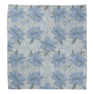 Foral blue lush flowers wedding pattern bandanna