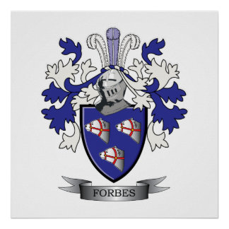 Forbes Family Crest Coat of Arms Poster