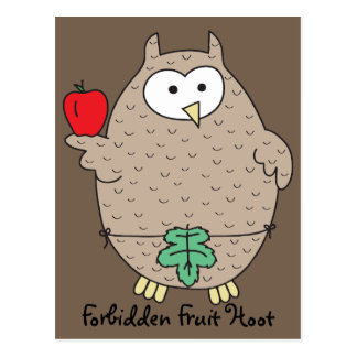 Forbidden Fruit Hoot Postcard
