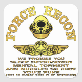 Force Recon We Promise You…. Square Sticker