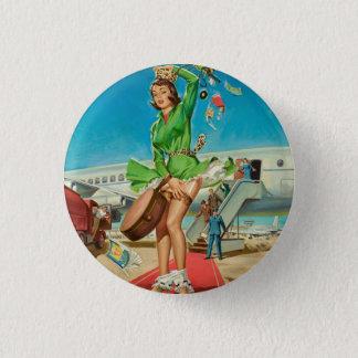 Forced landing retro pinup girl 3 cm round badge