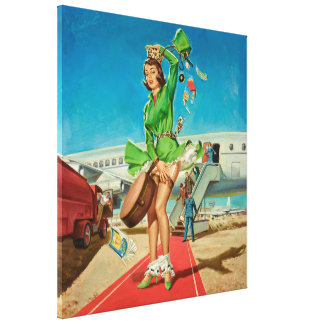 Forced landing retro pinup girl canvas print