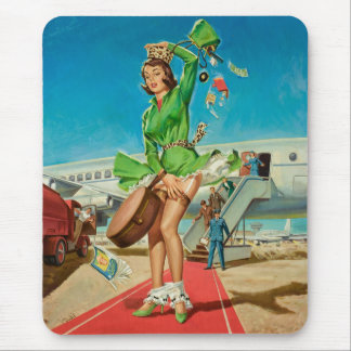 Forced landing retro pinup girl mouse pad