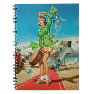 Forced landing retro pinup girl spiral notebook