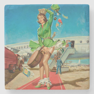 Forced landing retro pinup girl stone coaster
