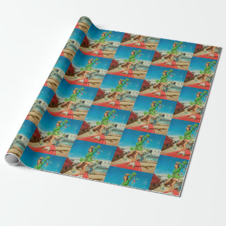 Forced landing retro pinup girl wrapping paper