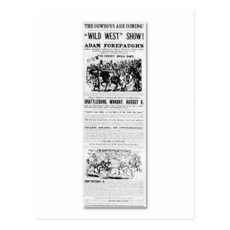 Forepaugh's Wild West Show Advertisement Postcard
