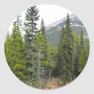 Forest and Mountain Scene Round Sticker