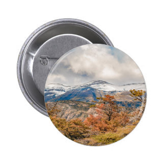 Forest and Snowy Mountains, Patagonia, Argentina 6 Cm Round Badge