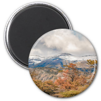 Forest and Snowy Mountains, Patagonia, Argentina 6 Cm Round Magnet