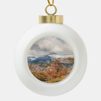 Forest and Snowy Mountains, Patagonia, Argentina Ceramic Ball Christmas Ornament