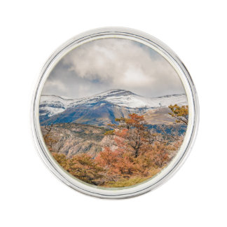 Forest and Snowy Mountains, Patagonia, Argentina Lapel Pin