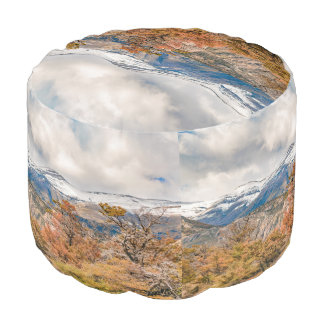 Forest and Snowy Mountains, Patagonia, Argentina Pouf