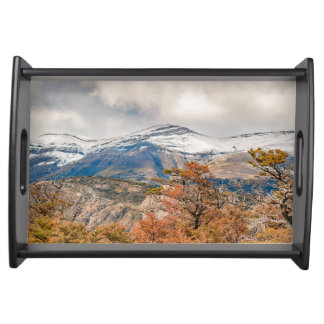 Forest and Snowy Mountains, Patagonia, Argentina Serving Tray