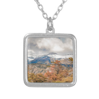 Forest and Snowy Mountains, Patagonia, Argentina Silver Plated Necklace