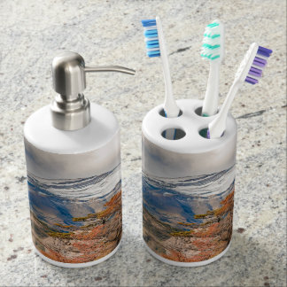 Forest and Snowy Mountains, Patagonia, Argentina Soap Dispenser And Toothbrush Holder