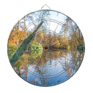 Forest autumn landscape with pond dartboard