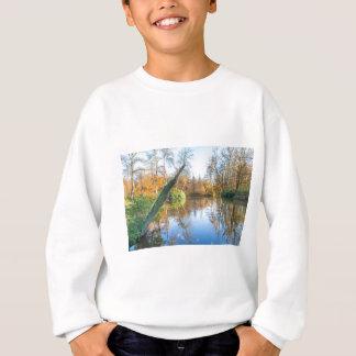 Forest autumn landscape with pond sweatshirt