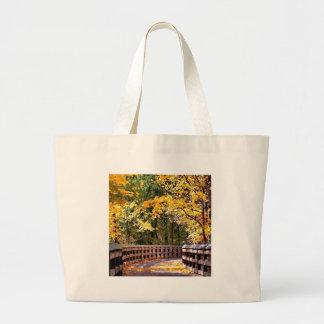 Forest Autumn Yellow Bridge Tote Bag