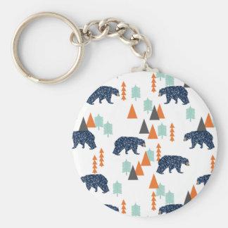 Forest Bear / Orange Mint Navy Blue /Andrea Lauren Basic Round Button Key Ring