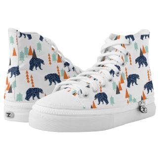 Forest Bear / Orange Mint Navy Blue /Andrea Lauren Printed Shoes