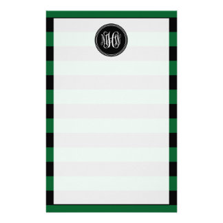 Forest Black Horiz Stripe #3 Black Vine Monogram Personalised Stationery