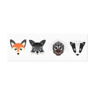 Forest Creatures 91.44cm x 30.48cm, 3.81cm, Single Stretched Canvas Print