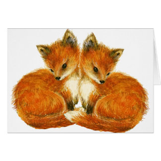 Forest Creatures Baby Twin Foxes Card